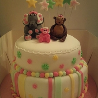 Baby Shower 2 tier baby shower cake for girl. Love these colours