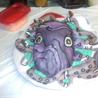 First Time Octopus Homemade marshmallow fondant over Chocolate and vanilla cake, with a caramel buttercream, with fudge tentacles.