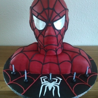 Spiderman   Spiderman bust for son's 5th birthday https://www.facebook.com/DizzyBakes?ref=hl