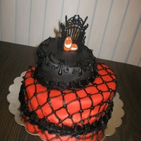 Orange & Black Night Tospy turvy style cake with buttercream icing