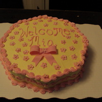 Baby Girl Baby Shower Cake Flower Shaped Cake with gum paste blossoms and fondant bow