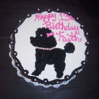 Poodle Cake Black Piped Poodle Cake