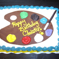 Painter's Cake Cake with fondant artist's palette and paint brush