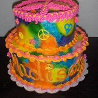Tie Dye Tiered Cake Tie Dye Cake with Peace Sign Top