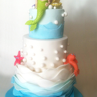 Ombre Under The Sea Birthday Cake Made for a friend's second birthday party. Lots of cute details like a sweet little mermaid, oyster & pearl, goldfish, starfish,...