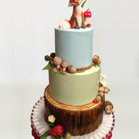"Rustic Woodland Animals Cake This was a birthday cake made for my sweet daughter's 8th birthday. She wanted a ""camping"" party, but it still needed to be..."
