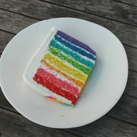 "Rainbow Birthday Cake Rainbow birthday cake for my daughter. Eight 1/2"" layers of cake to formed the rainbow. She decorated the fondant herself with edible..."