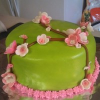 Simple Flowers Cake In Fondant First cake ever, lol. Have not taken any classes, just learning by reading and making mistakes. Used homemade marshmallow fondant,...