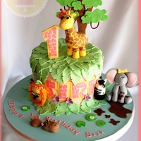 Jungle Cake This cake was just so fun to make. my kids just loved seeing all the animals come to life. It was soo hard to part with but Im soo happy...