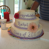 Graduation Cake With Flowers Graduation Cake....My first real cake decorating.