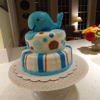 Whale Boys Baby Shower Cake Whale cake for a boy's baby shower.Whale's inside is rice crispie treat