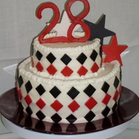 28 Birthday tiers are 6 and 9 inch buttercream with fondant accents