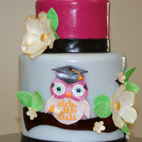 "Graduation Owl Tall 6"" and short 4"" cake. I went a little crazy with the glitter, owl wasn't quite so reflective in person. Also, cake was..."