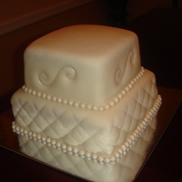 Diamond Pattern & Scroll Wedding Cake