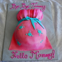 Pink Baby Bump Pink and Seafoam Green Baby Bump cake