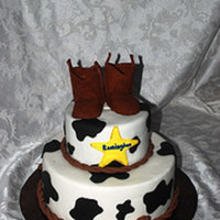 Cowboy Themed Baby Shower Cake.   This was for a baby shower. The boots are modeled by hand, I didn't have a pattern.