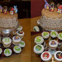 Angry Birds Space angry birds space cake and cupcakes i made for my son's bday
