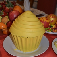 Giant Cupcake i made this giant cupcake chocolate shell to put my sweets for new year...