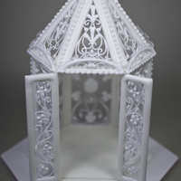 "Figure  Royal icing Gazebo from ""The Art of Royal Icing"" by Eddie Spence. Run-out panels with filigree dropped-line piping and pressure..."