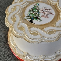 Christmas Cake   Royal Icing runout collars, piped border work with piped center medallion. Hand painted gold accents