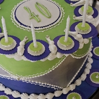 "Scott's Birthday Cake   Blue and green hand painted design with matched sugar ""candle holders"" accented with royal icing"