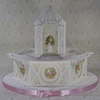 Royal Icing Paneled Cake With Royal Icing Gazebo Topper   Royal icing paneled cake with royal icing gazebo topper
