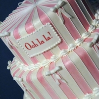 Ooh La La   White and pink painted stripes outlined in royal icing