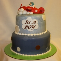 Airplane Baby Shower 2-tier chocolate pudding cake with whipped chocolate ganache filling