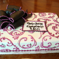 Black And Magenta Engagement Cake