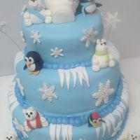 Polar Bears And Penguins Three tier cake, fondant, gumpaste bears and penquins