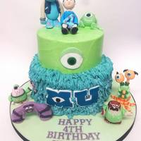 Monsters University!   monsters university, my first cake covered all in buttercream, details in sugarpaste and characters hand made by me :)
