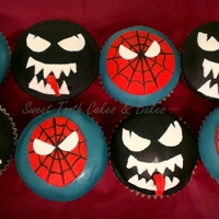 Spiderman & Venom   spiderman and venom cupcakes for a spiderman fan