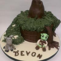 Shrek And Donkey!  Loved making this cake! This was for my best friends little boys 5th birthday and he loves shrek so what better to do than his house?! the...