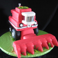 What Little Farmers Dream Of... Kyle wanted a combine cake - very specifically, an International Harvester combine cake - for his fourth birthday! Inside is chocolate cake...