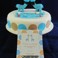 "Baby Show Cake Twin boys are on the way! My friend's baby shower cake. She said "" surprise me"" as cake request, so match the invitation..."