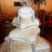 3Tier - Sea-Themed Wedding Cake With Purple Shells 4Tier massive Pillow cake - with diamantee and silver dragees