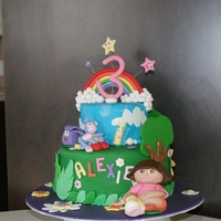 Dora Cake   i'm beginer and tis is my second cake with fondant