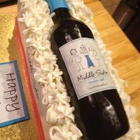 The Middle Sister Birthday Cake for a lady who will forever be cool! Wine bottle modeled from rice krispies and covered with MMF.