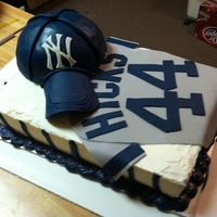 Ny Yankees Cake Made for my brother-in-law. Chocolate cake with cherries and almond sliver inside.