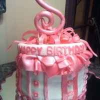 "Pink Birthday Hat Box ""s"" topper is gumpaste"
