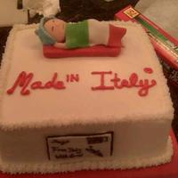 Made In Italy Baby shower cake for friends who got pregnant in Italy ;)Buttercream with Fondant baby, accents.