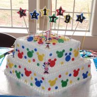 Mikey Mouse Clubhouse Cake 1st birthday cake, micky mouse club house accents. Butter cream with Fondant Accents