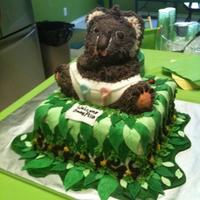 Jungle Themed Baby Shower Koala Cake 3-d bear pan used for Koala on top of square cake, Diaper/leaves fondant accents on buttercream.