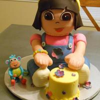 Dora The Explorer With Boots Birthday Cake White Cake With Chocolate Buttercream *Dora The Explorer with Boots Birthday Cake. White Cake with Chocolate Buttercream