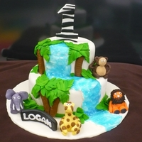 Jungle Cake Cake I made for my son's first birthday - modelling chocolate figures