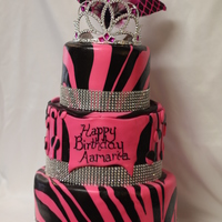 Zebra Black And Pink My first cake for Icing Smiles! Black and Pink zebra pattern in MMF. Vanilla cake with vanilla buttercream.