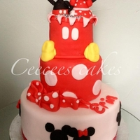 Mickey And Minnie 3 Tier   3 tier sponge mickey and minnie cake with fondant characters