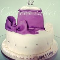 Engagement Cake Purple Ring box cake
