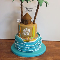 Surfboard Baby Shower Cake