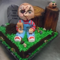 Chucky Halloween Birthday Cake Edible Chucky doll with cake and Headstone